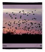 Birds At Sunrise Poster Fleece Blanket