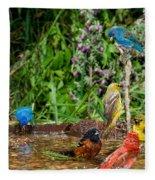 Birds Bathing Fleece Blanket