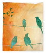 Birds Gathered On Wires-5 Fleece Blanket