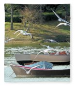 Birds In Flight At The Lake Fleece Blanket