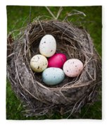 Bird's Nest With Easter Eggs Fleece Blanket