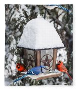 Birds On Bird Feeder In Winter Fleece Blanket