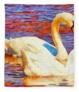 Birds On The Lake Fleece Blanket
