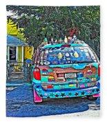 Bisbee Arizona Art Car Fleece Blanket