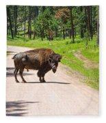 Bison Blocking The Road Fleece Blanket