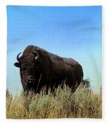 Bison Cow On An Overlook In Yellowstone National Park Fleece Blanket