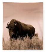 Bison Cow On An Overlook In Yellowstone National Park Sepia Fleece Blanket