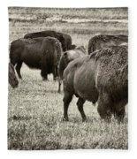 Bison Herd Bw Fleece Blanket