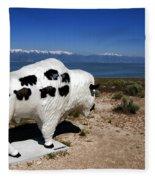 Bison Sculpture Great Salt Lake Utah Fleece Blanket