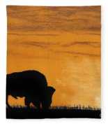 Bison Sunset Fleece Blanket