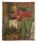 Bistro In Beziers, 2007 Pastel On Paper Fleece Blanket