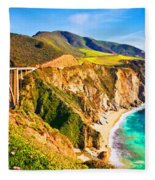 Bixby Creek Bridge Oil On Canvas Fleece Blanket
