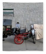 Black And Red Horse Carriage - Vienna Austria  Fleece Blanket
