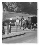Black And White Amish Horse And Buggy Fleece Blanket