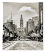 Black And White Benjamin Franklin Parkway Fleece Blanket