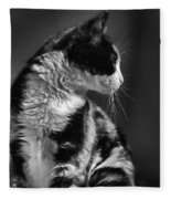 Black And White Cat In Profile  Fleece Blanket