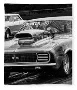 Black And White Chevy Camaro Ss Hotrod Fleece Blanket