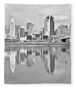 Black And White Cincinnati Panoramic Fleece Blanket