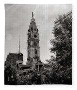 Black And White City Hall Fleece Blanket