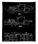 Black And White Corvette Patent Fleece Blanket