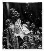 Black And White Daffodil Fleece Blanket