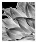 Black And White Dahlia Fleece Blanket