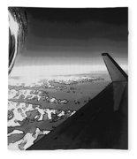 Jet Pop Art Plane Black And White  Fleece Blanket