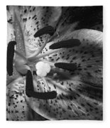 Black And White Lily Up Close Fleece Blanket