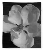 Black And White Magnolia Blossom Fleece Blanket