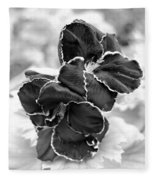 Black And White Maui Flowers Fleece Blanket