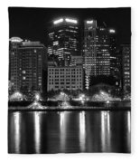 Black And White Night In Pa Fleece Blanket