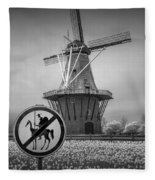 Black And White No Tilting At Windmills Fleece Blanket