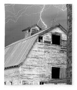 Black And White Old Barn Lightning Strikes Fleece Blanket