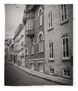 Black And White Old Style Photo Of Old Quebec City Fleece Blanket