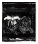 Black And White Orchid Flowers Growing Through Old Wooden Pictur Fleece Blanket
