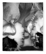 Black And White Orchids Fleece Blanket