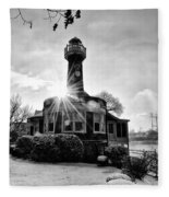 Black And White Philadelphia - Turtle Rock Lighthouse Fleece Blanket