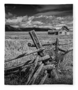 Black And White Photo Of A Wood Fence At The John Moulton Farm Fleece Blanket