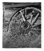 Black And White Photo Of An Old Broken Wheel Of A Farm Wagon Fleece Blanket
