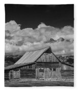 Black And White Photo Of The T.a. Moulton Barn In The Grand Tetons Fleece Blanket