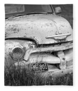 Black And White Photograph A Vintage Junk Chevy Pickup Truck Fleece Blanket