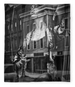 Black And White Photograph Of A Mannequin In Lingerie In Storefront Window Display  Fleece Blanket
