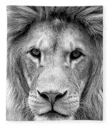 Black And White Portrait Of A Lion Fleece Blanket