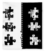 Black And White Puzzles Digital Painting Fleece Blanket