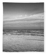 Black And White Seascape Fleece Blanket