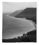 Black And White Sleeping Bear Dunes Fleece Blanket