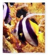 Black And White Striped Angelfish Fleece Blanket