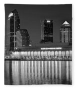 Black And White Tampa Night Fleece Blanket