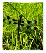 Black And White Winged Dragonfly Fleece Blanket