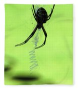 Black And Yellow Argiope - Spider Silhouette 02 Fleece Blanket